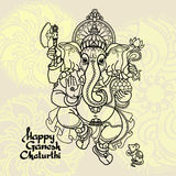 Hindu God Ganesha. Hand drawn Vector illustration. Royalty Free Stock Photography