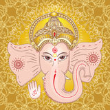 Hindu god Ganesha. Sing OM on his hand. Stock Image