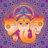 Hindu god Ganesha. Sing OM on his hand. Royalty Free Stock Photos