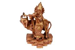 Hindu God 'Krishna. A Metal Figure of Hindu God Krishna Stock Photo