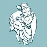 Hindu God Krishna. Vector hand drawn illustration Royalty Free Stock Photography
