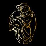 Hindu God Krishna. Vector hand drawn illustration Stock Image