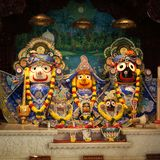 Hindu God Krishna with his wife Radha and Gopikas. Close up Royalty Free Stock Photography