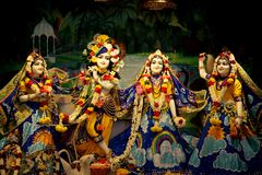 Hindu God Krishna with his wife Radha and Gopikas. Close up Royalty Free Stock Images