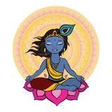 Hindu God Krishna. stock illustration
