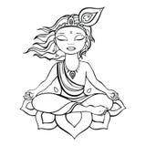Hindu God Krishna. Vector hand drawn illustration Stock Photo