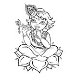 Hindu God Krishna. Vector hand drawn illustration Royalty Free Stock Photos