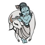 Hindu God Krishna. Vector hand drawn illustration Stock Images