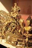 Hindu God Lord Krishna Handicraft Gold Idol Stock Photography