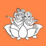 Radha, Krishna. Hindu God. Hindu God. Radha, Krishna Vector hand drawn illustration Stock Photography