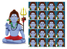 Hindu God Shiva Cartoon Emotion faces Vector Illustration Royalty Free Stock Photos