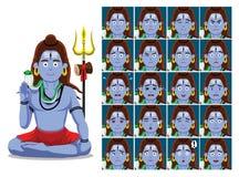 Hindu God Shiva Cartoon Emotion faces Vector Illustration. Cartoon Emoticons EPS10 File Format Royalty Free Stock Photos