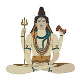 Hindu God Shiva flat vector illustration Royalty Free Stock Photography