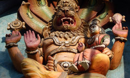 Hindu God Statue of Narasimha avatar of God Vishnu wall art Royalty Free Stock Photography