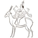 Hindu God Vayu sitting. On the antelope. Vector illustration Royalty Free Stock Image