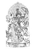 Hindu God winning the battle with demons. Sketch Stock Photos