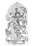 Hindu God winning the battle with demons. Sketch Stock Photos