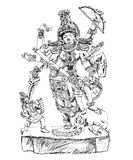 Hindu God winning the battle with demons. Sketch collection Royalty Free Stock Photos
