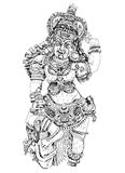 Hindu God winning the battle with demons. Sketch Stock Image
