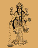 Hindu goddess. Of wealth, beauty and happiness on a beige background stock illustration