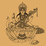 Hindu goddess. Of wisdom and knowledge with a peacock and a swan on a beige background vector illustration