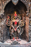 Hindu Goddess in black stone Royalty Free Stock Photography