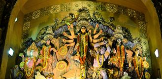 Hindu goddess Idol in Pandal, temporary temple for Royalty Free Stock Photo