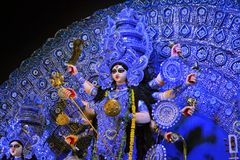Hindu goddess Idol in Pandal, temporary temple for Royalty Free Stock Photography