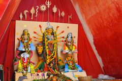 Hindu goddess Idol in Pandal, temporary temple for Stock Photos