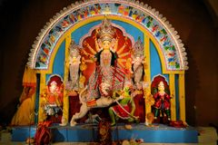 Hindu goddess Idol in Pandal, temporary temple for Royalty Free Stock Image