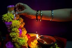 Hindu Goddess Lakshmi. An alter worshiping the Hindu Goddess Lakshmi Royalty Free Stock Images