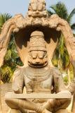 Hindu Goddess Lakshmi. Lakshmi stone sculpture in Humpi city Royalty Free Stock Image
