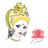 Hindu Goddess Lakshmi of wealth, prosperity, fortune, and the embodiment of beauty. Vector drawing Stock Photo