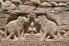 Hindu goddess of prosperity with two elephants. Hindu goddess of prosperity Lakshmi with two elephants (Gajalakshmi) on ancient stone book, Polonnaruwa, Sri stock image