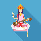 Hindu Goddess Saraswati flat Stock Photo