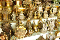 Hindu gods and Buddha statues Stock Photo