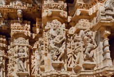 Hindu gods on the carved stone wall of historical Chitaurgarh fortress in India. UNESCO World Heritage Site Royalty Free Stock Photography