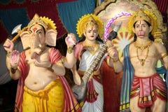 Hindu gods and godess. Hindu deities of ganesha, hanuman, and saraswati at a temple in India Stock Photography