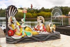Hindu Gods, Holy Hindu Lake, Mauritius. Hindu gods at Holy Hindu Lake of Ganga Talao, Grand Bassin. Mauritius, Africa, Indian Ocean. Indian religion royalty free stock images