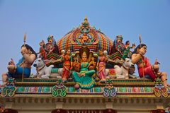 Hindu gods on a temple roof Royalty Free Stock Photos