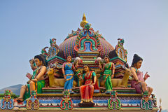 Hindu gods on a temple roof Stock Images