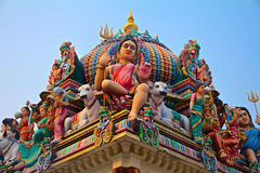 Hindu gods on a temple roof Royalty Free Stock Image