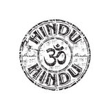 Hindu grunge rubber stamp. Black grunge rubber stamp with om aum symbol and the word hindu written inside the stamp Stock Photo