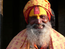 Hindu Holy Man. A Hindu holy man at the sacred Pashupatinath Temple and crematorium in Kathmandu, Nepal Stock Photo