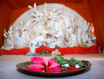 Hindu idol worship. Idol worship by placing offerings in front of the idol of the God or Goddess in Hindu or Indian culture Stock Photos