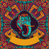 Hindu indian festival. Colorful hindu indian festival banner.  elephant head in abstract geometric ornamental frame Royalty Free Stock Images