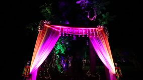 Indian wedding welcome arch with lighting stock video footage