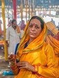 Hindu lady in Haridwar Stock Photos
