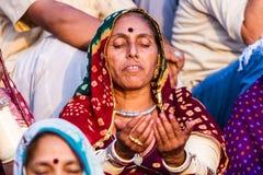 A Hindu Lady Meditating Royalty Free Stock Photo