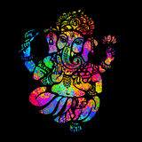 Hindu Lord Ganesha. Lord Ganesha sitting in the lotus position on a psychedelic background. A poster for a party, printing on T-shirts, greeting cards or Stock Images